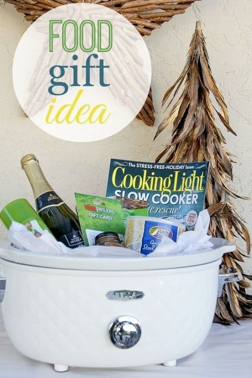 put slow cooker related items inside : liners, spice packets, recipes, etc. Food Lover Gift Basket