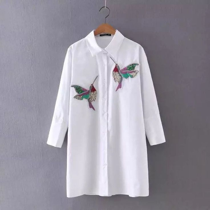 Fashion 2016 White Autumn Blouse Dresses For Women Striped Bird Embroidery Three Quarter Sleeve Causal Dress Vestidos