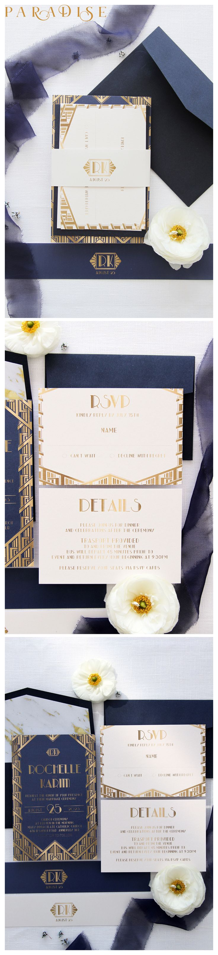 Art Deco Wedding Invitations, Navy and Gold Wedding Invitation Sets, Elegant Invitations, Chic Wedding Invites, Navy Envelopes #weddinginvitation #weddings #bride #weddingstationery #weddinginvitations #weddingtrends #weddinginspo #weddingstyle