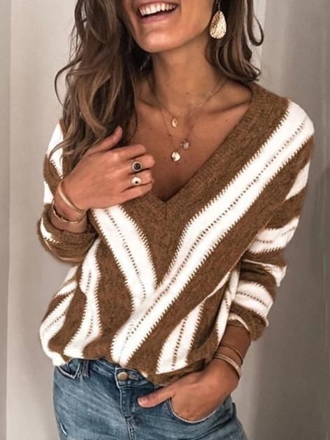 New V-neck Contrast Striped Sweater 11