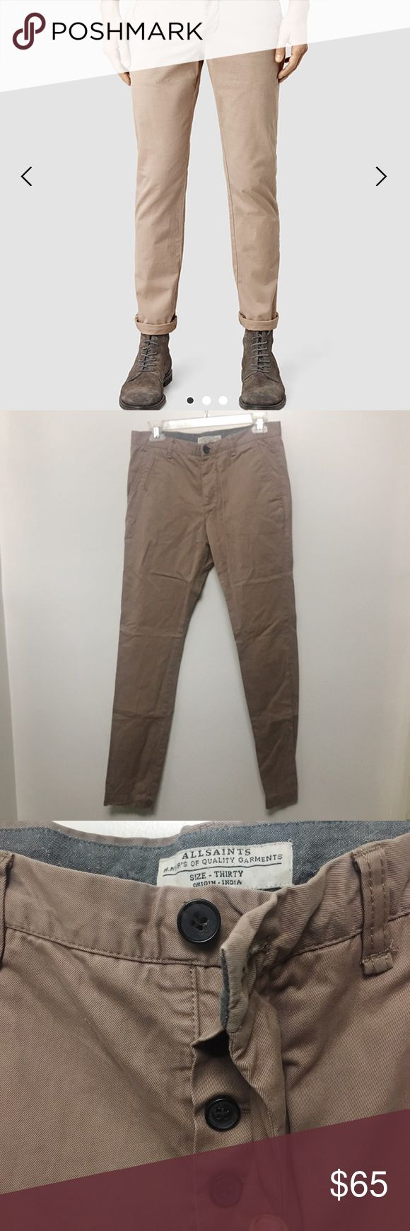 All saints chino pants size 30 Men's Brand new without tags  pair of All Saint chino pants color dusty pink. size 30x32 All Saints Pants Chinos & Khakis