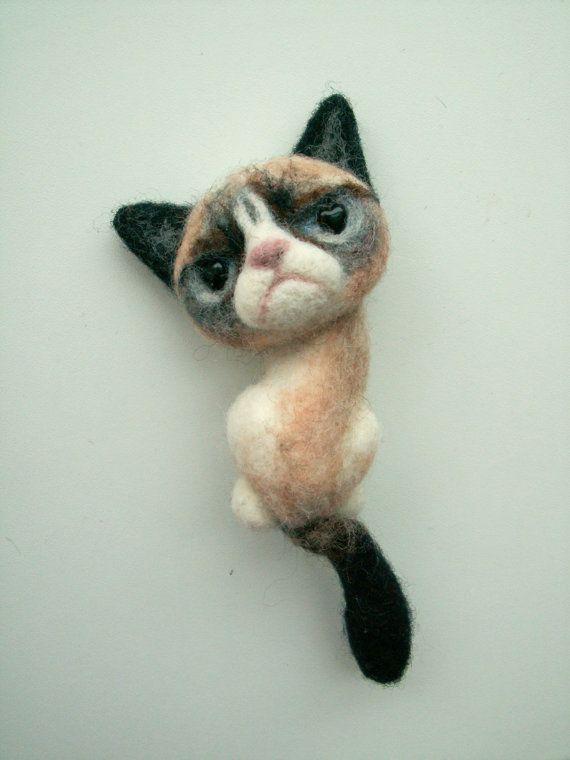 Animal+Brooch+Grumpy+Cat+Meme+Needle+Felted+Cat+by+CatAndTheCity,+$26.00