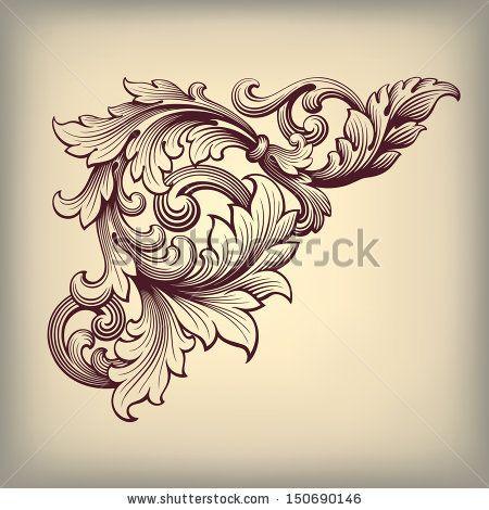 vector vintage baroque scroll design frame corner pattern element engraving retro style ornament. Black Bedroom Furniture Sets. Home Design Ideas