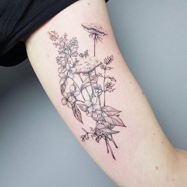 Stippling Tattoo, Wildflower Tattoo, Tattoos
