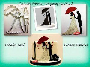 Silueta Novios con Paraguas