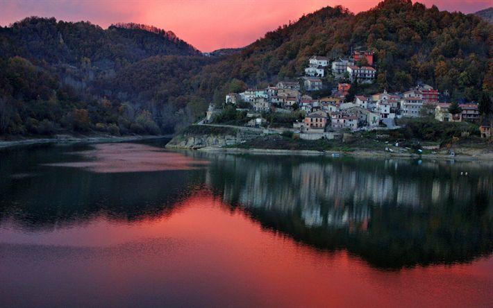 Download wallpapers Italy, lake, sunset, mountains, village, Europe