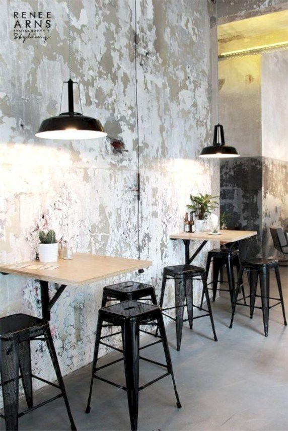 Exposed Concrete Walls Inspiration Ideas 13 Cafe Decor Cafe Interior Design Cafe Design