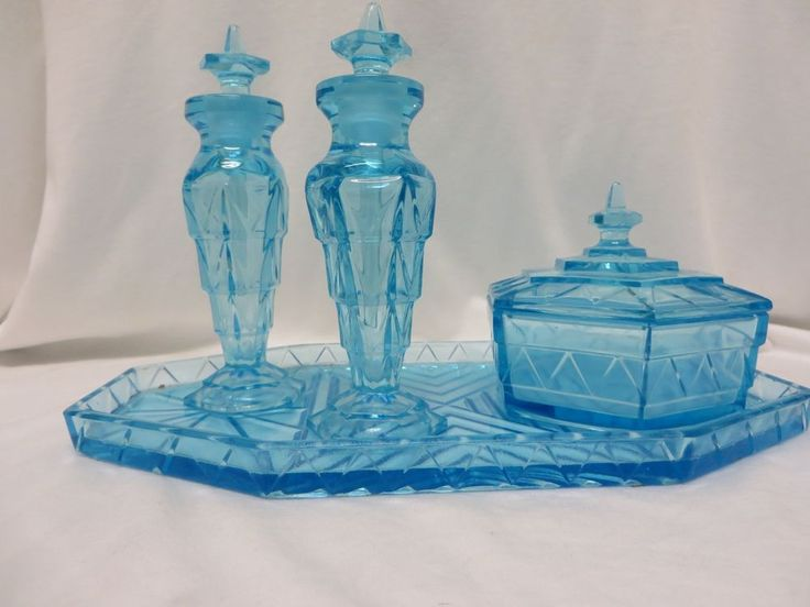 Vintage Tiffin Chipperfield Blue Gl Dresser Set Perfume Bottles Powder Box And Tray