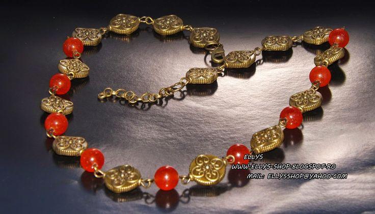 Ellys Shop: Colier jad si accesorii bronz la baza gatului