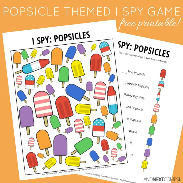 Popsicles I Spy Game {Free Printable for Kids} | And Next Comes L