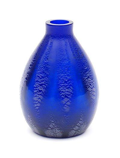 "Botterweg Auctions Amsterdam > Cobalt blue glass ""Sonoor"" springflower-vase with crackle, design A.D.Copier 1935, executed by Glasfabriek Leerdam / the Netherlands"