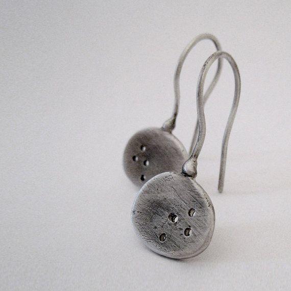 Pierced paddle dangle earrings. Sterling silver by applenamedD