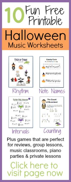 Halloween Music Worksheets--FREE printable worksheets and a bunch of fun game ideas. You've got to check it out!