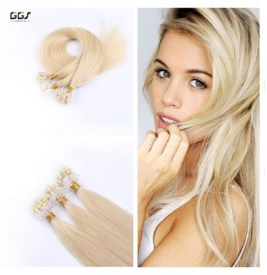 Micro Ring Hair Extensions #60 Platinum Blonde Straight Wave Brazilian Hair Unprocessed Virgin Remy Nano Loop Hair Weaves 5A 100g