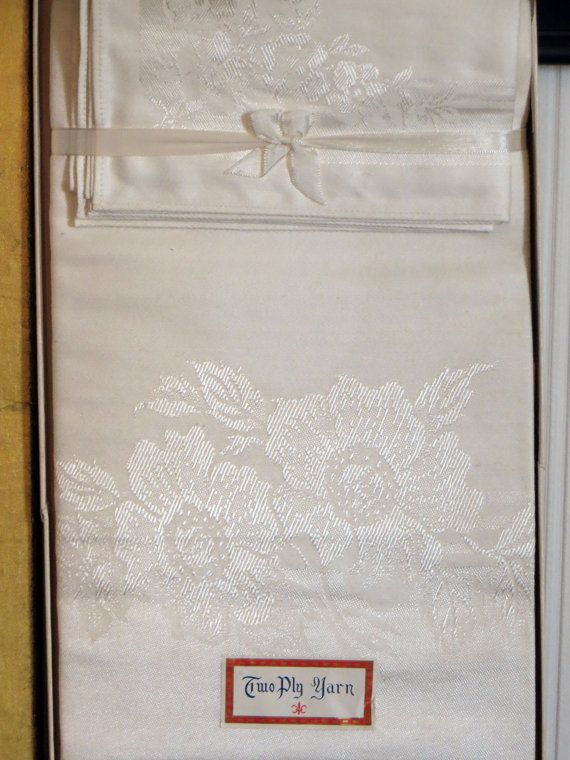 Damask Tablecloth White New Old Stock Boxed by HerbgirlAndVintage