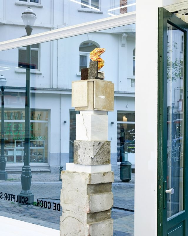 Jan De Cock A Model for a Monument for Giorgio de Chirico #1, 2017 Mouse grey non-reinforced concrete formwork, white Carrara marble, yellow limestone, muschelkalk, dark-coated plywood, extra white gypsum model plaster, deep yellow watercolour, red pastel Rembrandt paint 253 × 37,4 × 40 cm (99 1/2 × 14 5/8 15 5/8 inches)