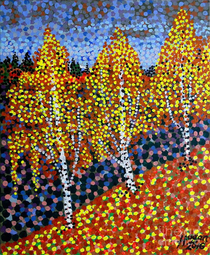 'Autumn Birches' - painting by Alan Hogan, 2016. #art #dotism #trees #birch #autumn #fall #nature #artgallery #artcollector #artcollection #kunst #konst #taide #konstnär #finland #pointillist #pointillism #hoganart #hogan #paintings #prints