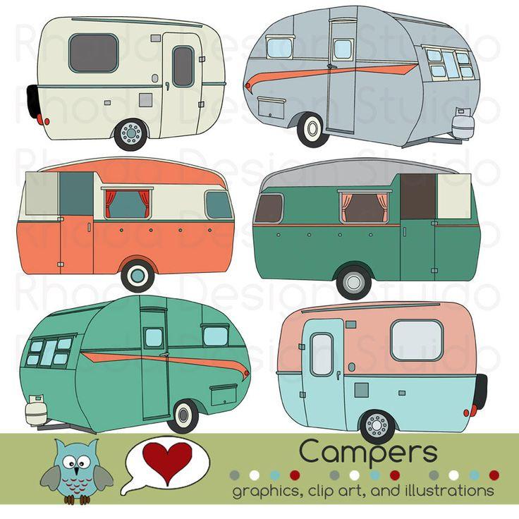 Vintage Campers Digital Clip Art Retro Camp Trailers via Etsy.
