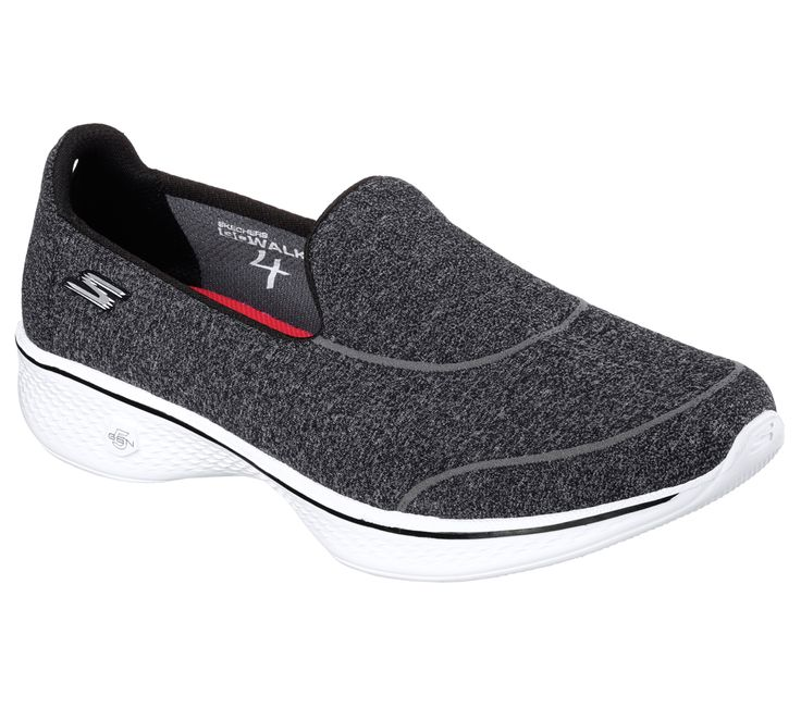 Half shoe, half sock - now in Skechers GOwalk 4.  Nearly seamless soft fabric upper with socklike comfortable fit.  Features innovative 5GEN® midsole design and an advanced seamless one piece mesh fabric upper with new Skechers Goga Max™ insole for the most advanced walking experience ever.