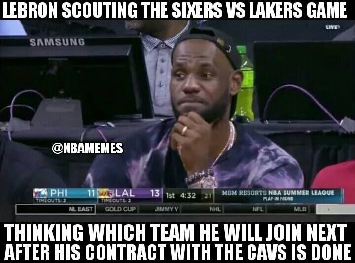 Will he ever leave Cleveland? #CavsNation #LakeShow - http://nbafunnymeme.com/nba-funny-memes/will-he-ever-leave-cleveland-cavsnation-lakeshow