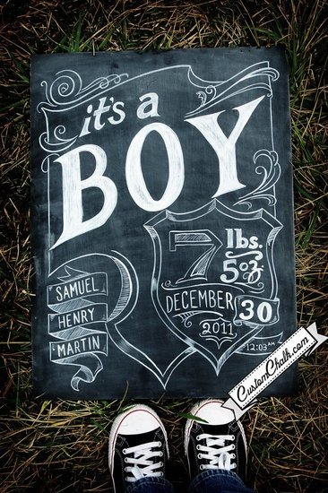 Permanent chalkboard art! Create with regular chalk, then paint over it with acrylic paint to make it last.Births Announcements, Creative Births, Baby Announcements, Chalk Boards, Chalkboards Art, Birth Announcements, Baby Boy, Chalkboards Births, Chalk Art
