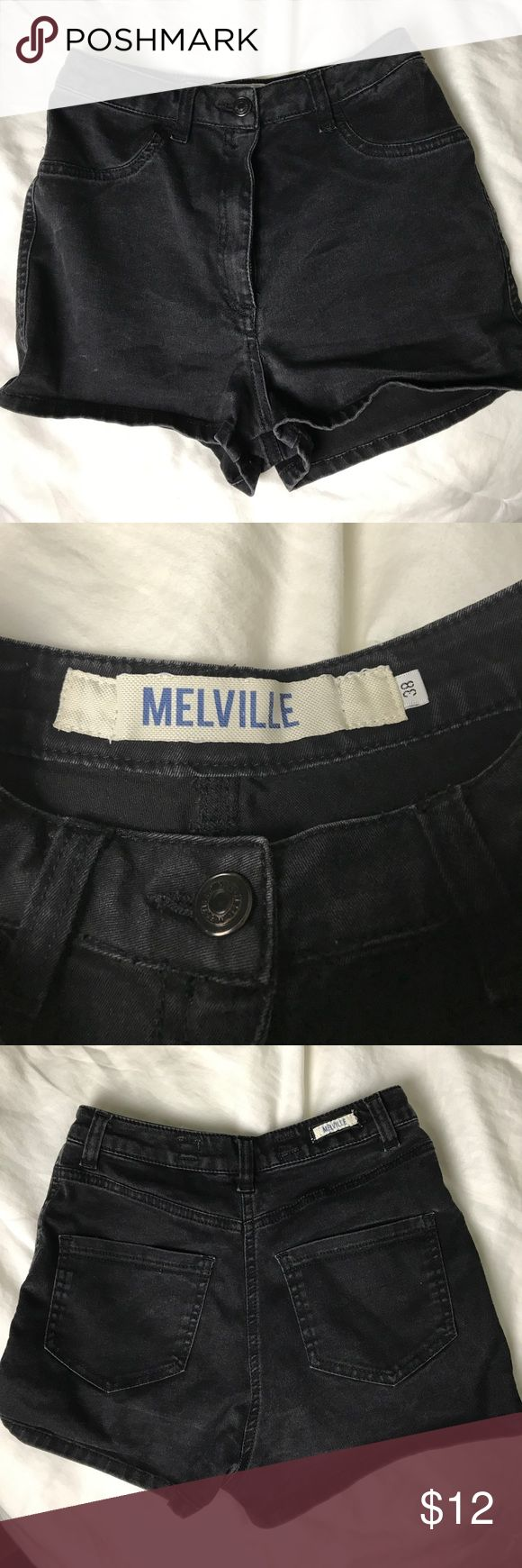 Brandy Melville Black High Waisted Shorts Black high waisted shorts from Brandy Melville, no signs of tearing, soft denim Brandy Melville Shorts Jean Shorts