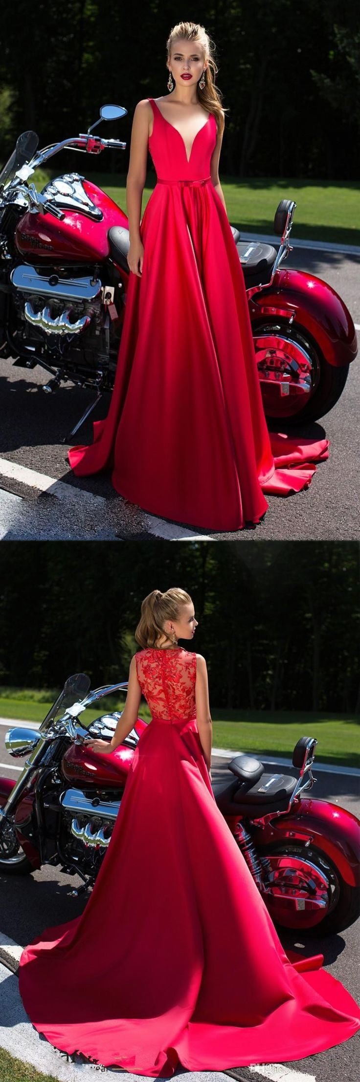 Red see through back long V neck A-line evening dresses. Love the Harley!!