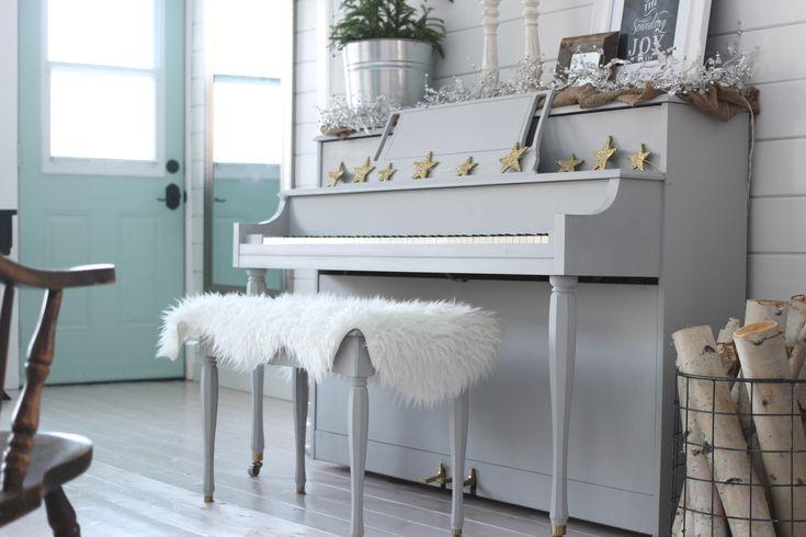 The Homemade Farm Christmas Home Tour Grey Painted Piano