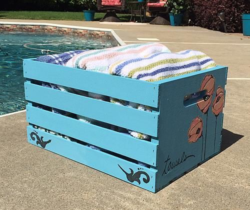 Pool Towel Storage Ideas bronze pool storage towel valet Chalky Finish Pool Towel Storage Crate Create A Whimsical Painted Crate To Store