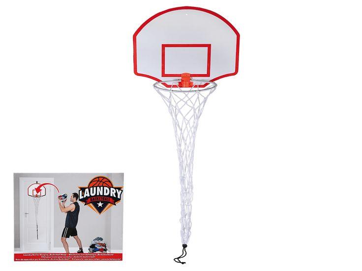 Basketbal wasnet. Is dit een cadeau voor de kids of voor de moeder die de altijd rondslingerende was mag opruimen? Wie het weet mag het zeggen. Hang het basketbalbord op een uitdagende plek en gooi de was er maar in!
