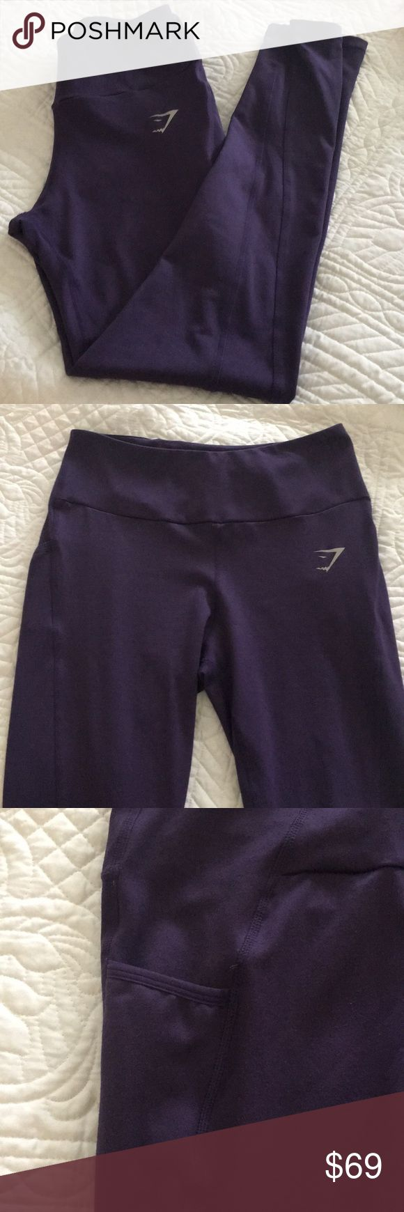 Gym shark leggings Never worn These are too big for me Two pockets for Your cell phone or iPod High waisted gymshark Pants Leggings