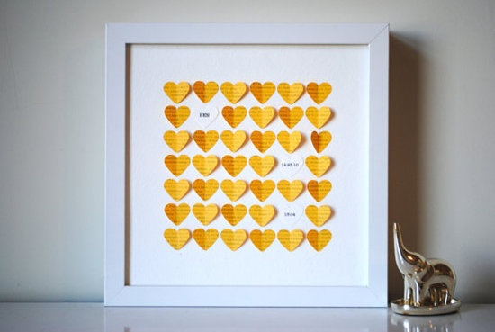 Yellow paper hearts, printed with the lyrics from You Are My Sunshine, from artist SuzyShoppe are so sweet. Personalize up to three white hearts with your baby's first, middle, and last name, birth date, birth time, initials, birthplace, or anything else you'd like.
