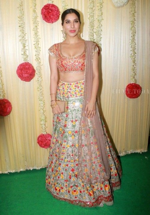 Sophie Choudry at Ekta Kapoor's Diwali Party : Sophie took the blingy turn and opted for a colorful Manish Malhotra lehenga, that she finished off with a nude clutch and a middle-parted hairdo. Nice!
