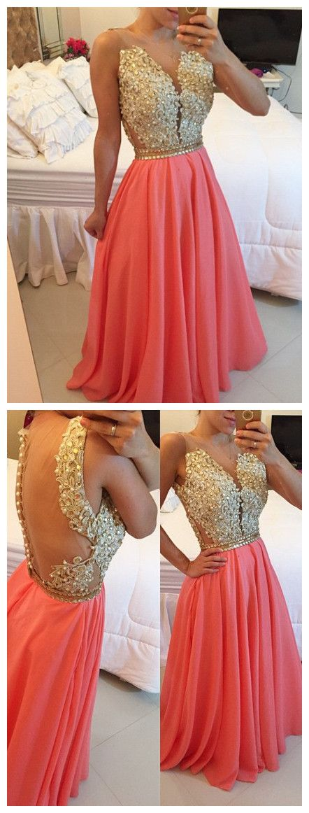 Prom dress 2016,Beaded prom dress,Appliques prom dress,Chiffon prom dress,Pink prom dress,Beading prom dress,