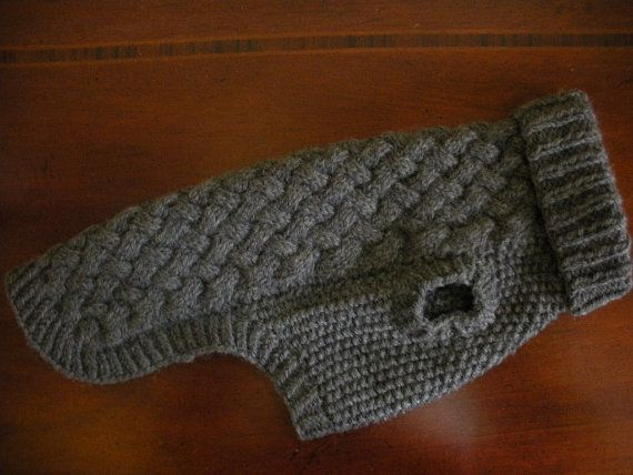 Dog Sweater Basket Weave Cable Knit Charcoal by bychancedesigns