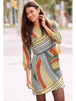 Vestido mulher manga 3/4 estampado psicadélico