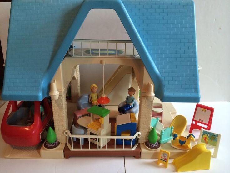 Vintage Little Tikes Tykes Blue House Dollhouse Furniture