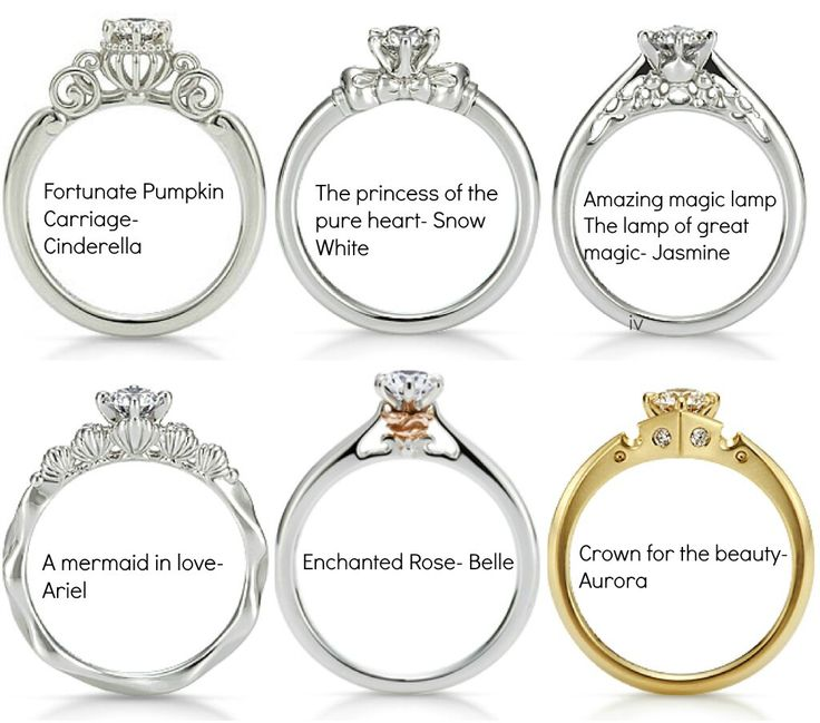 Disney Princess Wedding Rings. I actually kinda like this idea. Who wouldn't want to feel like a princess? The Jasmine and Belle ones are the best