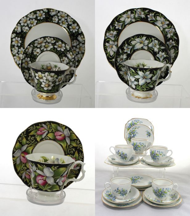 Royal Albert porselein thee Sets & Art Deco Diamond China porselein deel theeservice - 25 Items  Een gemengde partij van vintage Engelse porseleinen theepotten bestaande uit:-Royal Albert provinciale bloemen porselein thee trio (thee kopje en schotel tea plaat) in berg nagelkruid patroon.-Royal Albert provinciale bloemen porselein thee trio in Madonnalelie vast patroon.-Royal Albert provinciale bloemen porselein thee duo in Lady van Slipper patroon.-Diamond China porselein deel theeservice…