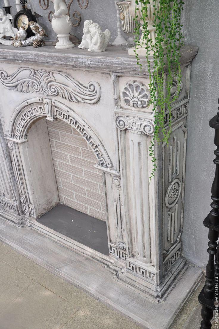 Купить Камин декоративный Греция, бетонный, сборный под покраску - серый, камин, каминный портал