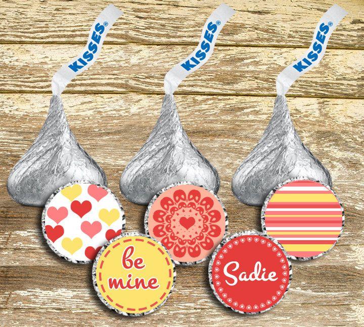 Valentine's Hershey Kisses - Personalized Valentine's Kisses, Valentine's Teacher's Gifts, Personalized Valentine's Chocolates, Printable by LittlePrintsOttawa on Etsy