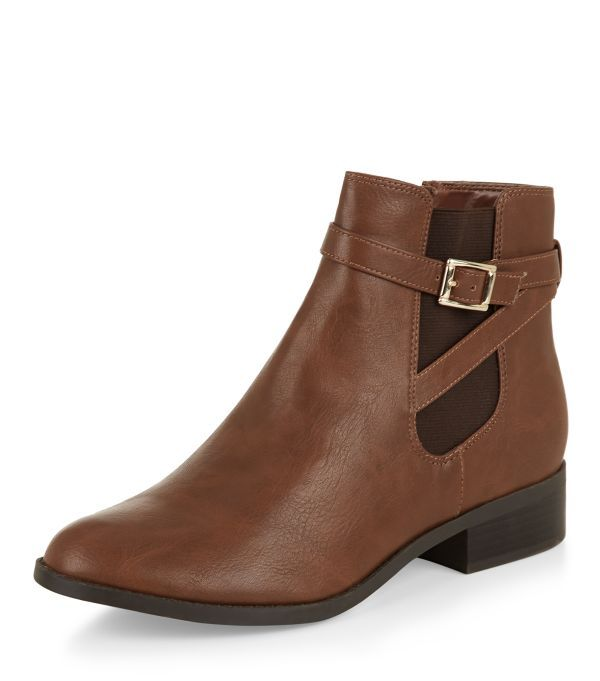 Tan Strappy Chelsea Boots    New Look