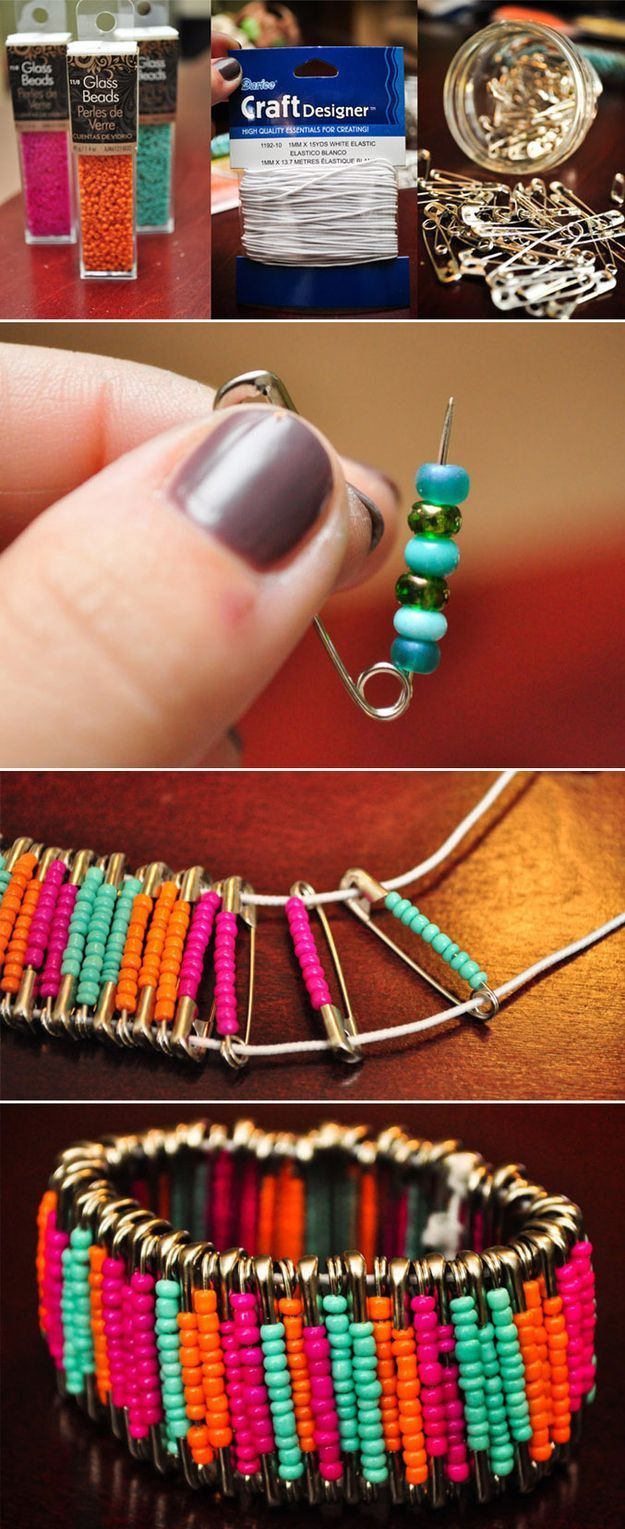 Uses seed beads threaded on safety pins, and elastic to string the