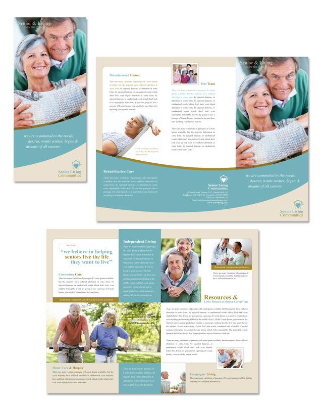 Senior living community tri fold brochure template http for Breastfeeding brochure templates
