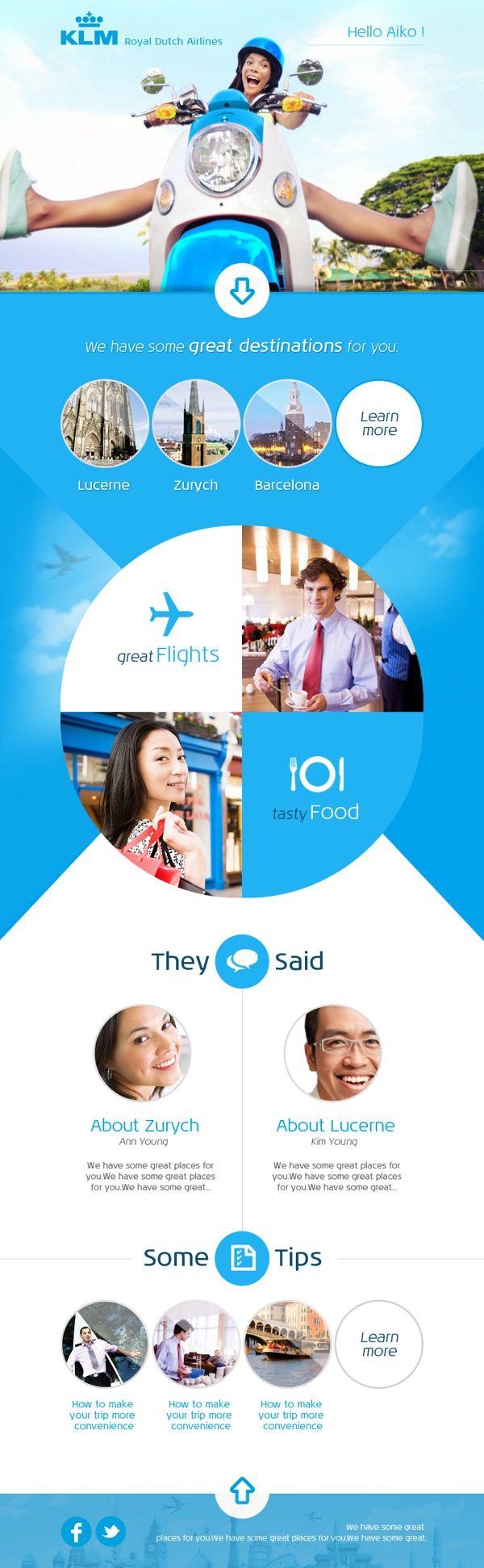 KLM - Newsletter by Piotr Świerkowski, via Behance web design