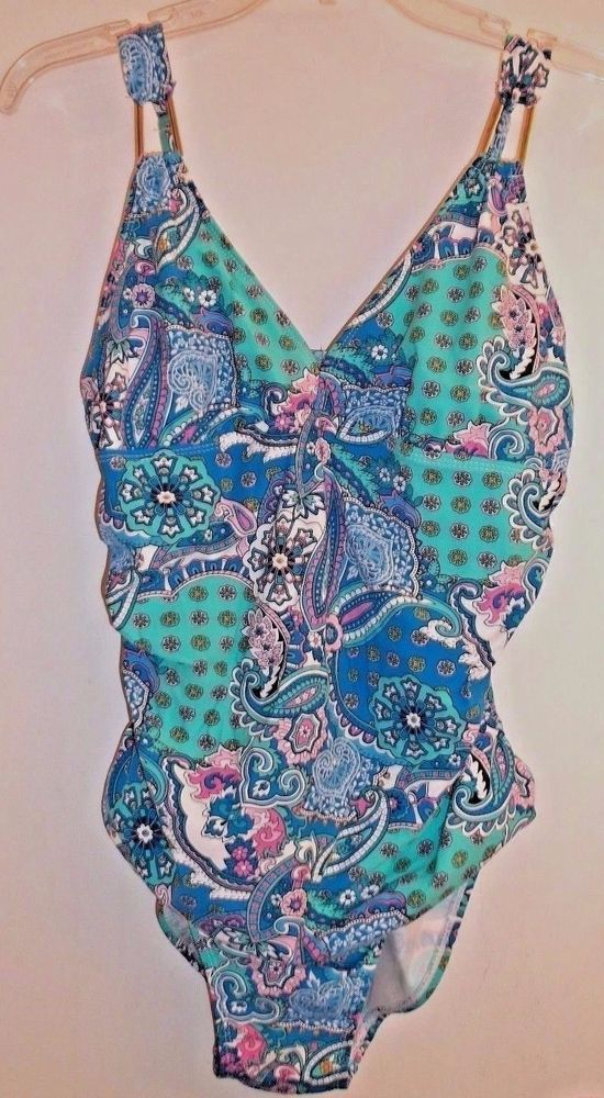 Assets By Sara Blakely Spanx One Piece Swimsuit Size Large Paisley Print #ASSETS #OnePiece