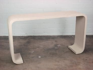 Grasscloth Wrapped Console Table with Curved Feet Base Custom Sizes and Styles Available Please Contact for Quotes