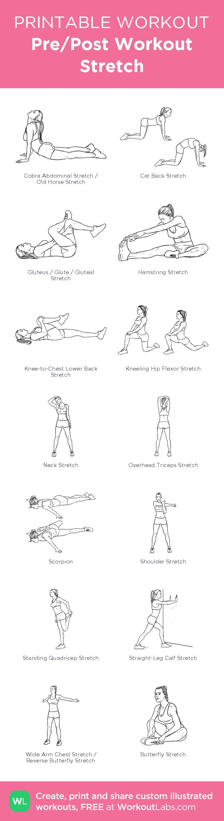 Pre/Post Workout Stretch– my custom exercise plan created at http://WorkoutLabs.com • Click through to download as a printable workout PDF #customworkout