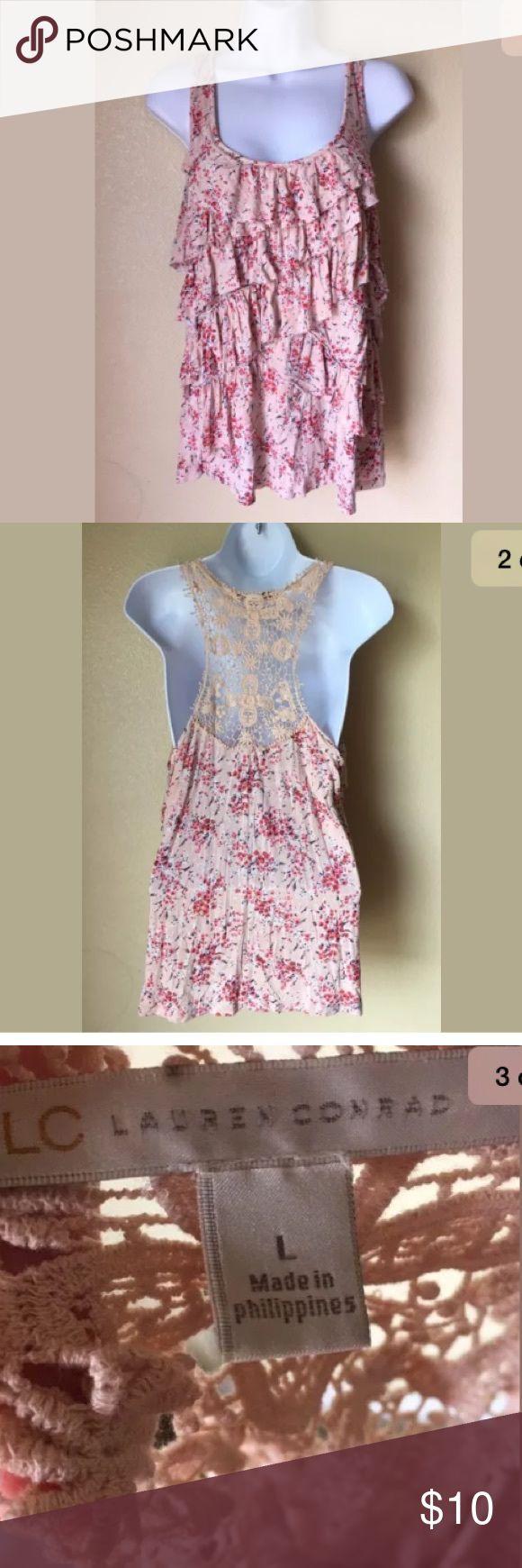 Lauren Conrad Floral Sleeveless Crochet Shirt Sz L Lauren Conrad Women's Floral Sleeveless Racerback Layers Crochet Shirt Sz L LC Lauren Conrad Tops Blouses