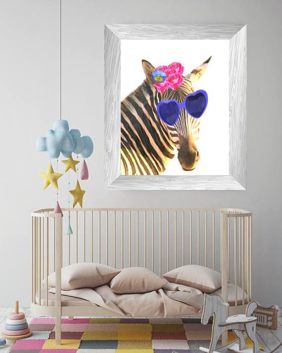 funny animal watercolor zebra wall art nursery animal print